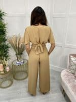 TAMMY two piece tie back top and trousers set - TAN